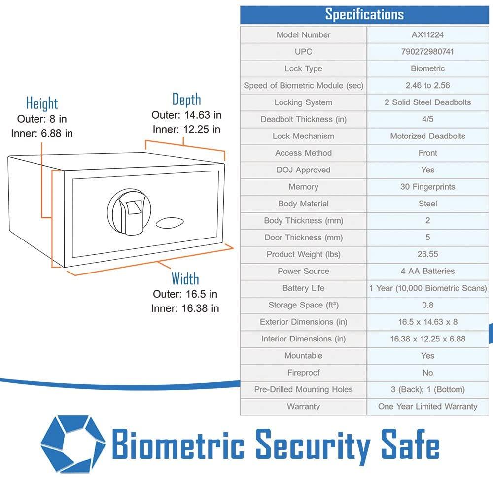 BARSKA biometric safe Features